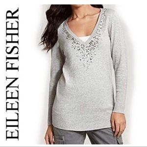 EILEEN FISHER ORGANIC COTTOM & CASHMERE SWEATER M